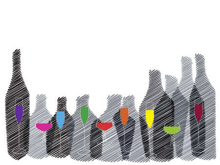 tipple: Wine background vector.Bottle of alcohol illustration.Design for wine.Glasses to alcohol.Alcohol vector background. Template for drink card. Stock Photo