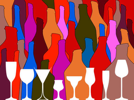 Wine background vector.Bottle of alcohol illustration.Design for wine.Glasses to alcohol.Alcohol vector background. Template for drink card. Stock Photo