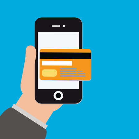 Credit Cards vector.Mobile payments illustration.Online shopping.Mobile banking icon.Electronic commerce concept.