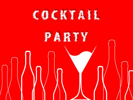Cocktail party.Alcohol vector background.Bottle of alcohol illustration. Glasses to alcohol.Template for drink card.Suitable for poster,promotional leaflet, invitation, banner. Stock Photo