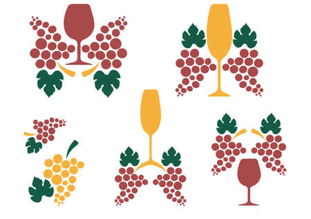 tipple: A bunch of grapes.Vector set of bottle for alcohol.Wine list.Bottle background.Glasses for alcoholic drinks.Design for cocktail party. Stock Photo
