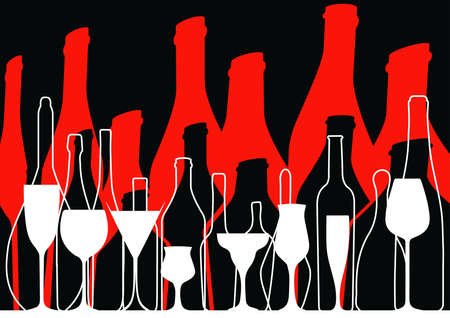 Vector set of bottles for alcohol.Wine list.Bottle background.Glasses for alcoholic drinks.Design for cocktail party.