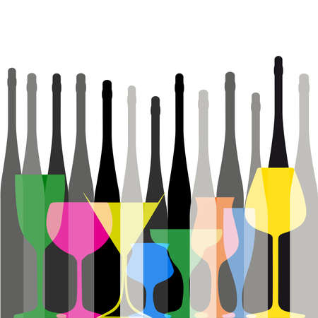 Background with bottles ,seamless pattern with wine bottles and glasses ,set of colorful bottle on background.