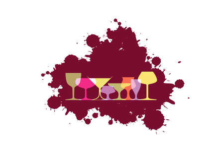 Spill the Wine. Red wine drops.A bunch of grapes.Bottle of alcohol illustration.Design for wine.Glasses to alcohol.Alcohol vector background.
