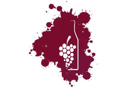 Spill the Wine.A bunch of grapes. Red wine drops.Wine background vector.Alcohol vector background. Template for drink card.