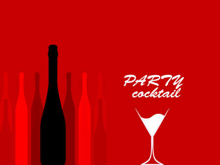 Design for cocktail party.Wine list.Vector set of bottles for alcohol.Glasses for alcoholic drinks.Bottle background. Stock Photo