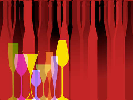 Wine background vector. Design for wine. Bottle of alcohol illustration. Glasses to alcohol.Alcohol vector background. Template for drink card.Suitable for poster,promotional leaflet, invitation.