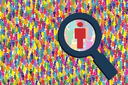 Ilustración de la gente de la búsqueda. Investigando el vector del trabajo. En busca de la gente que se busca. Foto de archivo