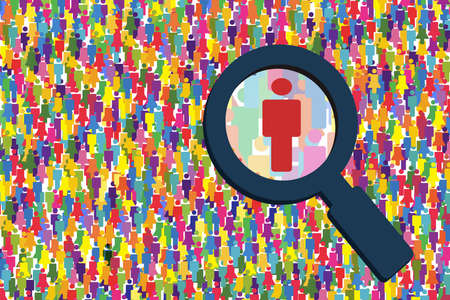 looking for job: Search people illustration.Searching job vector.Magnifying looking for people.