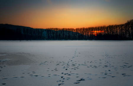 Sunset over frozen lake.Fiery sunset and trees silhouettes.