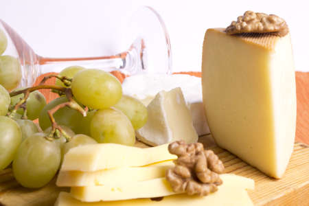mix of different types of cheese flavor with walnuts