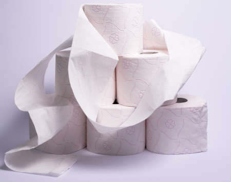 A pyramid made of ten rolls of toilet paper