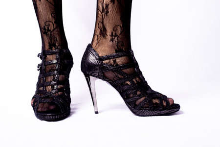 black shoes black women sexy legs stockings Stock Photo