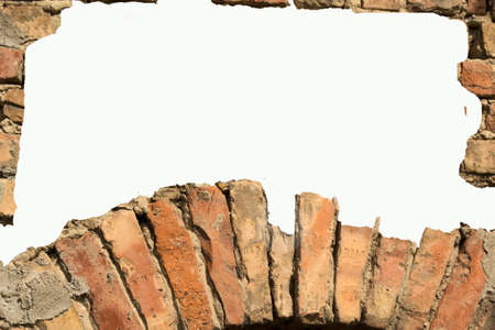 White card background with brick wall framing Stock Photo - 10662605