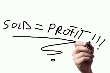 profit on the sale of the business comes to the eternal truth Stock Photo