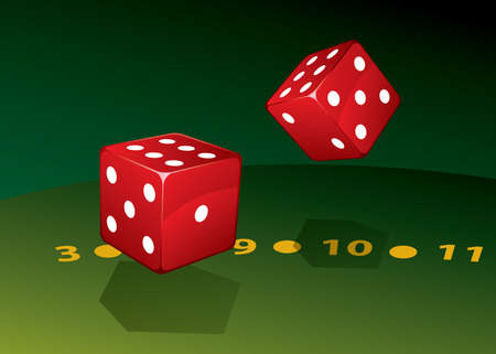 Two dice on green table Illustration