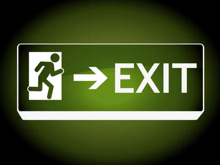 show case: Exit sign on wall