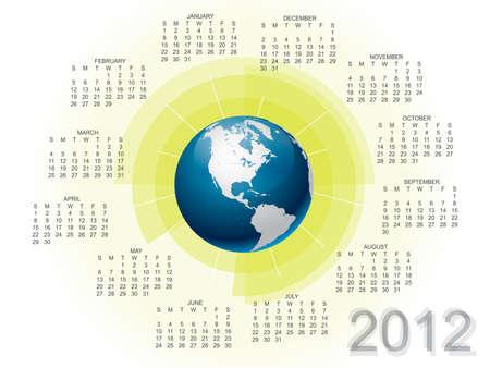 Modern vector calendar 2012 with globe