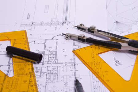 The technical drawing yellow ruler and compass