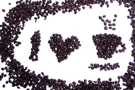 i love coffee coffee grains shape on white background coffee frame