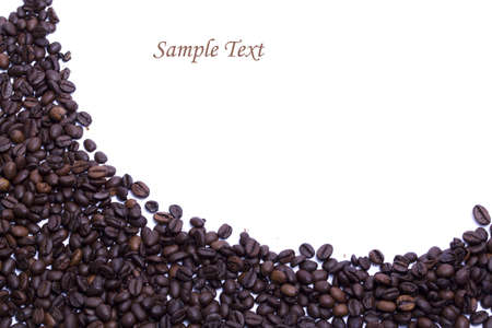 coffee beans into a card edge design on white background Stock Photo