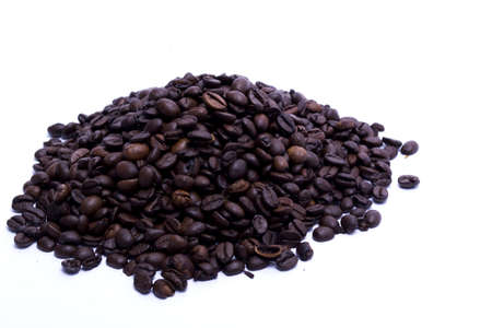 black beans in a heap on white background Stock Photo