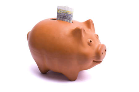 Piggy-bank money sports tiny white background Stock Photo - 10980890