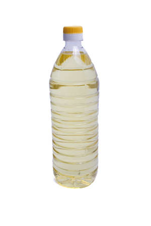 Bottle of sunflower oil isolated on white background