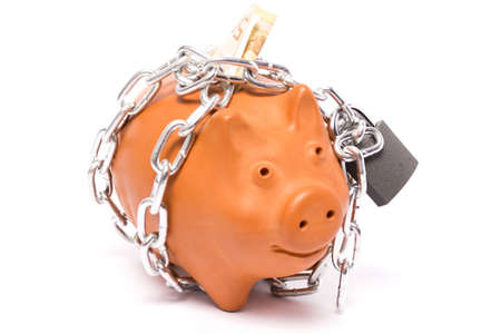 piggy-bank locks, chained and locked on white background Stock Photo - 11070213