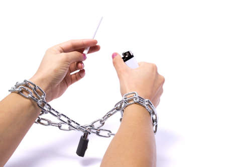 Hands chained cigarette passionately fighting white background