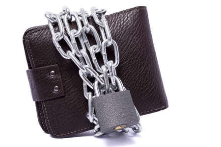 dark brown wallet with chain and padlock wrapped around the closed white background