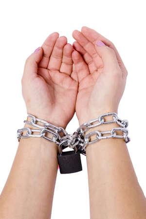 Two hands chained dark locks white background