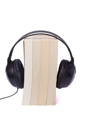 books on white background, black headphone audio books Stock Photo
