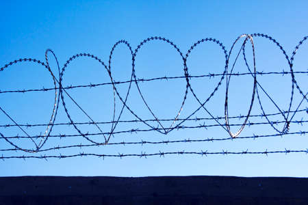 transverse: barbed wires Stock Photo