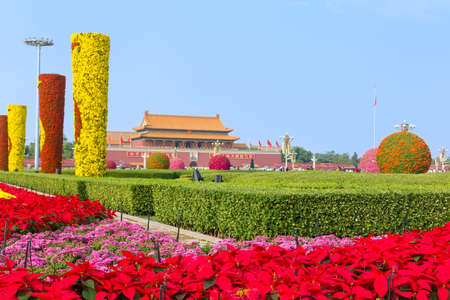 Flowers bloom in Tiananmen Square during the National Day holiday in 2017