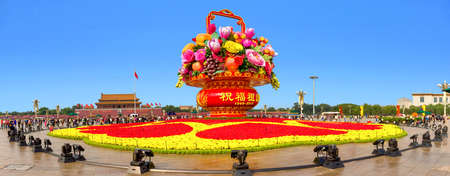 A large basket of 19 meters was placed in front of the Tiananmen in Beijing during the National Day in 2017. Editorial