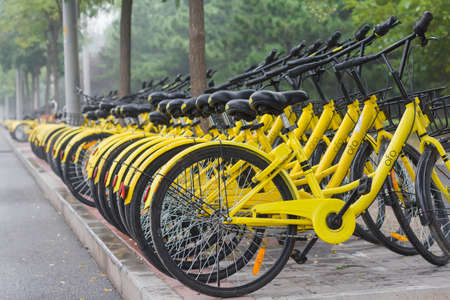 Shared bicycles on the streets of Beijing Editorial