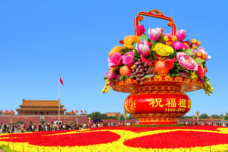 Big flower basket  in front of Tiananmen square in Beijing