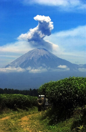 Semeru eruptions witnessed from plantations in Lumajang, East Java, Indonesia.