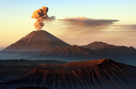 Volcanos Mount Semeru and Mount Bromo in East Java Indonesia. Photo taken on: August 27th, 2007