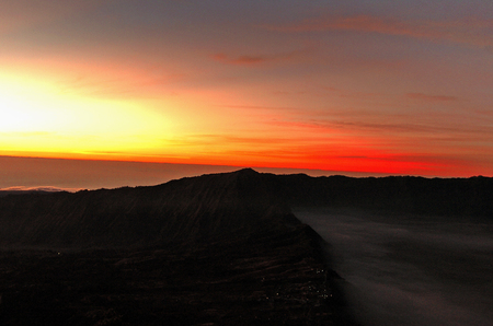 tengger: Sunrise at Mount Bromo, East Java, Indonesia Stock Photo