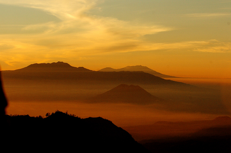 southeast asia: Volcanos Mount Bromo in East Java Indonesia Southeast Asia. Stock Photo