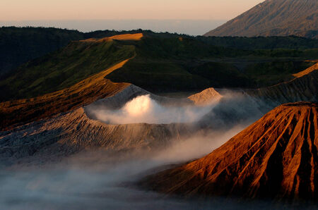 Landscape of Volcanoes in Bromo mountain at Java, Indonesia Stock Photo