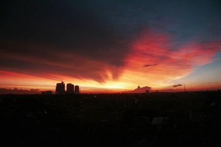 Panoramic cityscape of Indonesia capital city Jakarta at sunset. photo