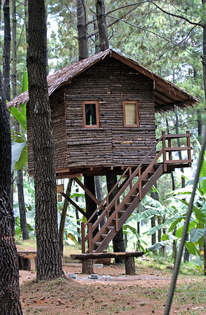 Tree house in a luxury real estate Pandaan Tamandayu in Pasuruan, East Java, Indonesia.