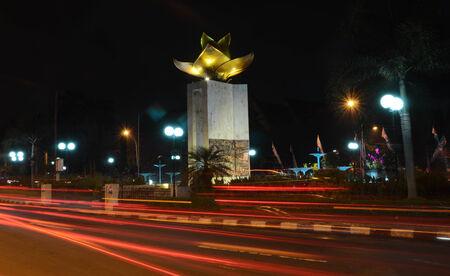 At night monument tower on Brawijaya Museum in Ijen Street, Malang, East Java, Indonesia.