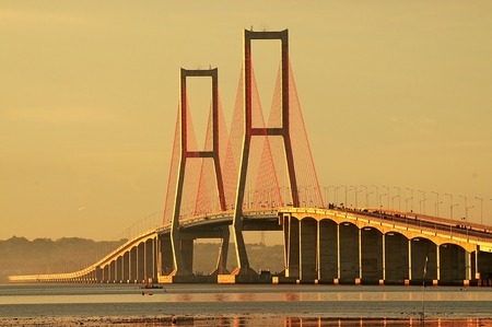 Suramadu bridge that conecting Surabaya City (Java Island) and Madura island at surabaya, East Java, Indonesia. Suramdu has a length of 5, 438 m