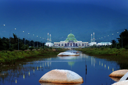 Mosque in Natuna Island, Riau islands province (Kepri), Indonesia Editorial