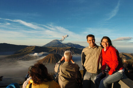 Tourists watching the sunrise and the crater of Mount Bromo Pananjakan, Pasuruan, East Java, Indonesia, on August 27, 2007. Editorial