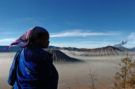 tengger: Tengger tribal women in the crater of Mount Bromo, East Java, Indonesia. Mount Bromo is a cluster of volcanoes in East Java which has a stunning natural beauty on August 27, 2007